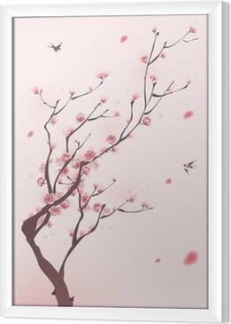 Gerahmtes Leinwandbild Orientalischen Stil Malerei, Kirschblüte im Frühjahr
