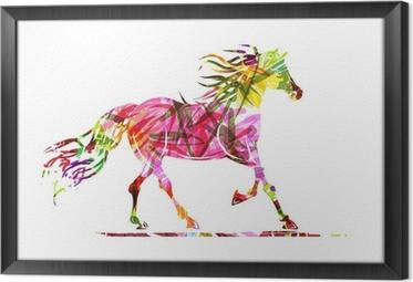 Gerahmtes Leinwandbild Pferd Skizze mit floralem Ornament für Ihren Entwurf. Symbol der