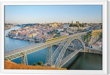 Gerahmtes Leinwandbild Porto mit dem Dom Luiz Brücke, Portugal