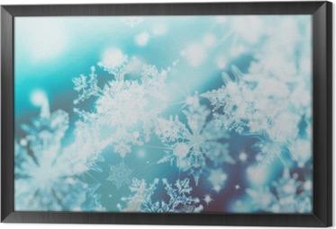 Gerahmtes Leinwandbild Schimmernde Unschärfe Spotlichter auf abstrakten Hintergrund. Muster der Schneeflocken