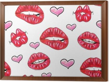 gerahmtes leinwandbild schne sexy lippen mit weien zhnen auf einem weien hintergrund weibliche rote lippen - Schone Muster Zum Zeichnen
