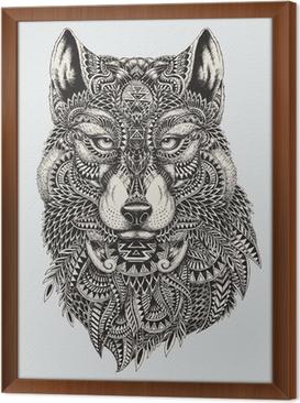 Gerahmtes Leinwandbild Sehr detaillierte abstrakte Wolf illustration