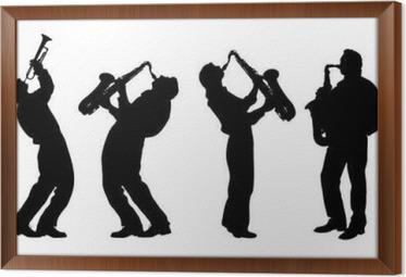 Gerahmtes Leinwandbild Silhouette Der Jazzmusiker
