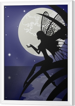Gerahmtes Leinwandbild Silhouette Fee Mädchen hält einen Stern