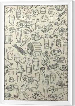 Gerahmtes Leinwandbild Skizzenhaft Bier und Snacks