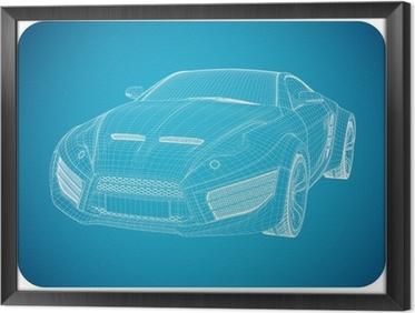 Tapete Sportwagen-Blaupause. Concept Car nicht gebrandmarkt ...