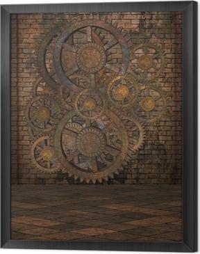 Gerahmtes Leinwandbild Steampunk Hintergrund