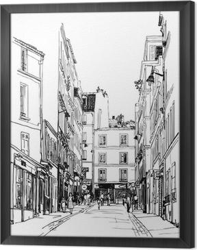 Gerahmtes Leinwandbild Straße nahe Montmartre in Paris
