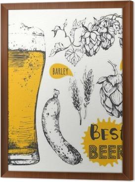 Gerahmtes Leinwandbild Vektor-Illustration von Bier und Würstchen. Pub-Menü.