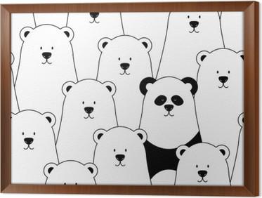 Gerahmtes Leinwandbild Vektor nahtlose Muster mit weißen Eisbären und Panda