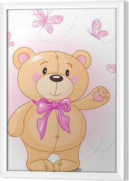 Gerahmtes Leinwandbild Very cute Teddybär Verzicht hallo