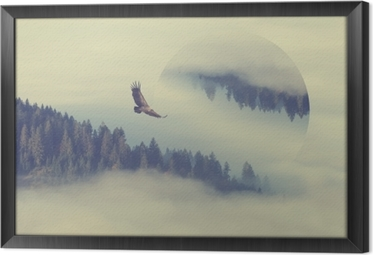 Gerahmtes Leinwandbild Wald am Berghang. geometrische Reflexionen