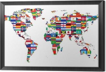 Gerahmtes Leinwandbild Weltkarte mit Flaggen