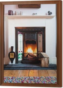 gerahmtes leinwandbild winter wohnzimmer feuer - Wohnzimmer Feuer