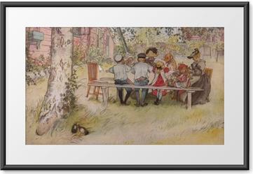 Gerahmtes Poster Carl Larsson - Frühstück unter einer riesigen Birke
