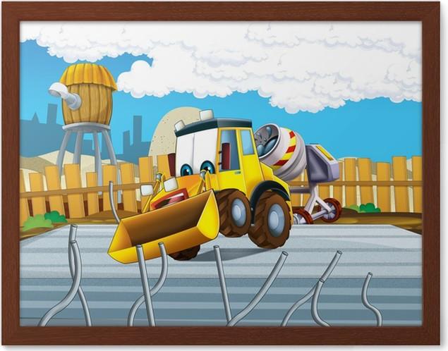 Gerahmtes Poster Die Cartoon-Bagger - Illustration für die Kinder ...