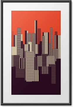 Gerahmtes Poster Ein drei Farben grafische abstrakte städtische Landschaft Plakat in orange und braun