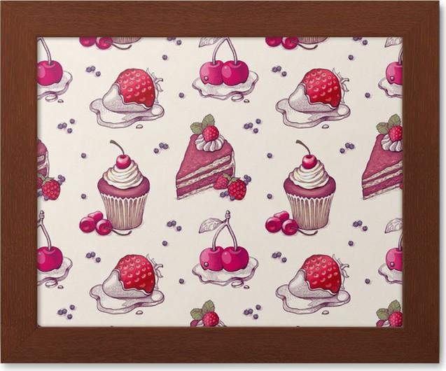 gerahmtes poster hand gezeichnete muster mit kuchen abbildungen - Kuchen Muster