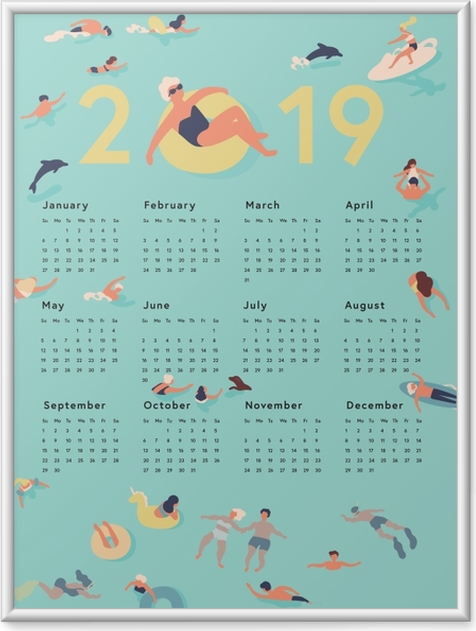 Gerahmtes Poster Kalendarium 2019 - Sommerzeit -