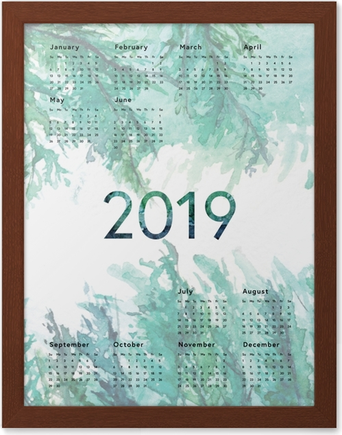Gerahmtes Poster Kalender 2019 - Grün -