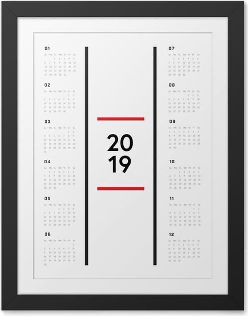 Gerahmtes Poster Kalender 2019 - Minimalist -