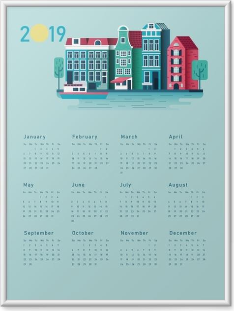 Gerahmtes Poster Kalender 2019 - sonniges Haus -