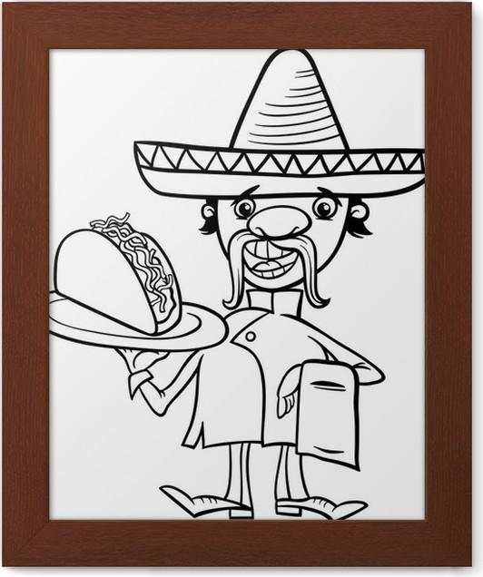 Gerahmtes Poster Mexikanische Küchenchef mit Taco Malvorlagen ...