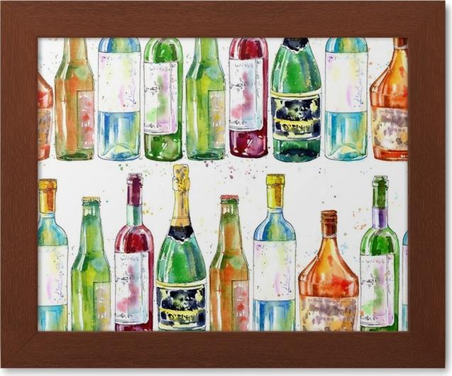 Gerahmtes Poster Nahtlose Muster von Champagner, Cognac, Wein, Bier ...