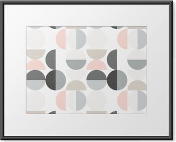 Gerahmtes Poster Nahtloses geometrisches Muster der modernen Vektorzusammenfassung mit halb Kreisen und Kreisen in der Retro- skandinavischen Art