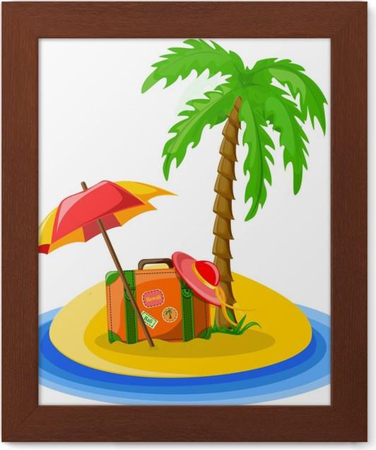 Gerahmtes Poster Reisen Hintergrund Von Palmen Sonnenschirm Hut
