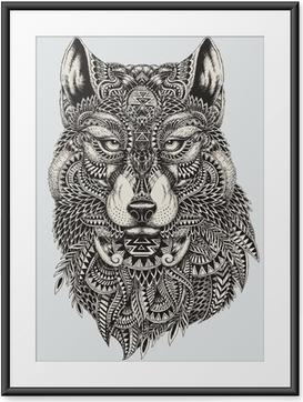 Gerahmtes Poster Sehr detaillierte abstrakte Wolf illustration