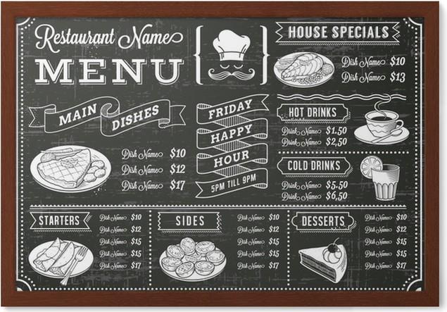 Gerahmtes Poster Tafel Restaurant Menü-Schablone • Pixers® - Wir ...