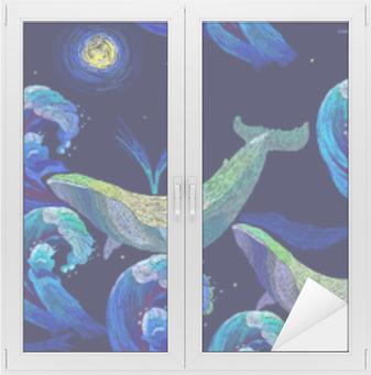 Nálepka Pixerstick Vyšívací velryby bezešvé vzor. modré velryby plavou noční  moře. klasické umělecké vyšívání 3593e6ef93