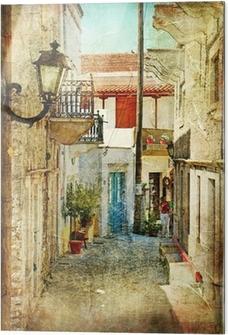 Glasbild Alten griechischen Straßen-künstlerisches Bild