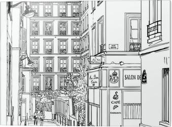 Glasbild Straße nahe Montmartre in Paris