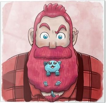Glasbillede Lyserød skægget mand med en kat i skæget
