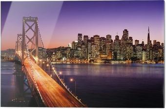Glasbillede San Francisco skyline og Bay Bridge ved solnedgang, Californien