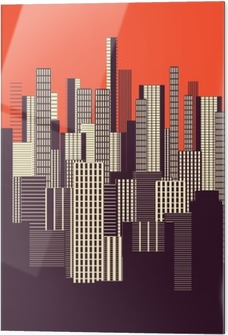 Glass print a three colors graphical abstract urban landscape poster in orange, and brown