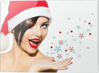 ee2ab08d2f8a3 Christmas Woman. Beauty Model Girl in Santa Hat over White Wall Mural •  Pixers® • We live to change