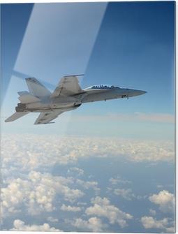 Glass print Jetfighter in flight