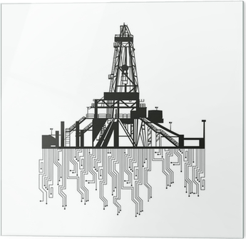 Oil rig silhouettes on white