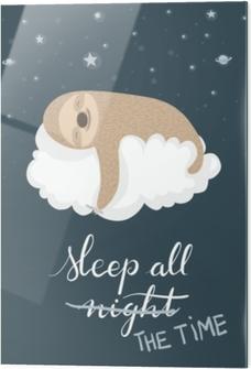 Glass print Sleeping sloth poster
