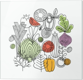 Glass print Vegetables round composition. Linear graphic. Vegetables background. Scandinavian style. Healthy food. Vector illustration