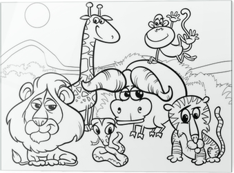 Wild Animals Cartoon Coloring Page Wall Mural Pixers We Live To