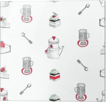 47c27611 Tapet Vektor sømløs mønster med hånd trukket te og kaffe og dessert  illustrasjoner. kan brukes til bakeri, bakverk, kafé, butikk og produkter.