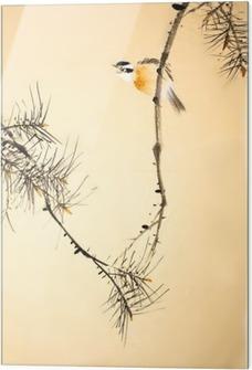 Glastavla Kinesiska bläck målning fågel och anläggning