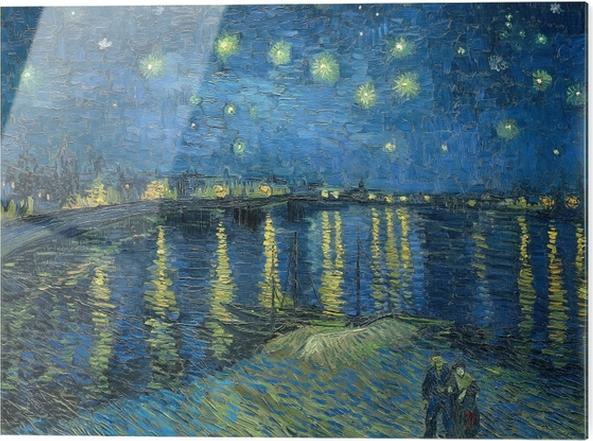 Glastavla Vincent van Gogh - Stjärnenatt över Rhône - Reproductions