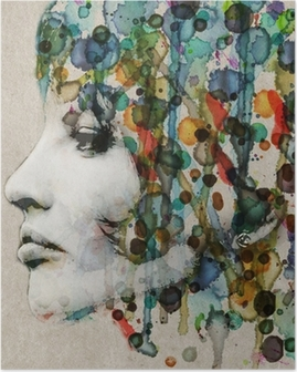 HD Poster Aquarell weibliches Profil