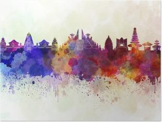 HD Poster Bali Skyline im Aquarell Hintergrund