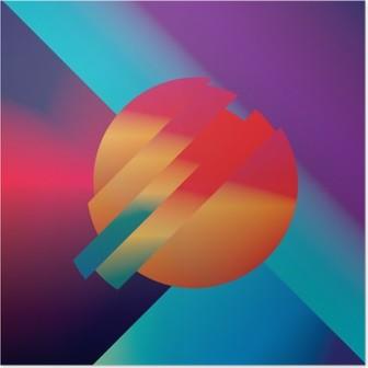 HD Poster Geometrik şekiller ile izometrik malzeme tasarımı soyut vector background. duvar kağıdı için canlı, parlak, parlak renkli sembol.
